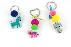 Cute Animals with pom pom and ribbons for your keys!!! New DIY