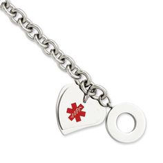 Stainless Steel Medical Heart 8 Inch Toggle Bracelet