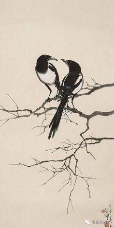 Two for joy Sumi E Painting, Japan Painting, Chinese Painting, Japanese Art Modern, Japanese Prints, Magpie Tattoo, Tinta China, China Art, Bird Art