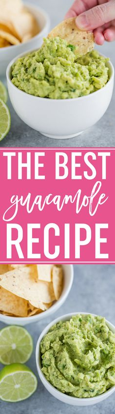 The Best Homemade Guacamole Recipe :: Easy to make and absolutely the best! A must for any party and especially for game days and the Super Bowl! via @browneyedbaker