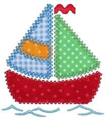 GG Designs Embroidery - Patchwork Sail Boat Applique (Powered by CubeCart) Free Applique Patterns, Applique Templates, Sewing Appliques, Applique Embroidery Designs, Machine Embroidery Applique, Applique Quilts, Quilt Patterns, Free Pattern, Felt Applique