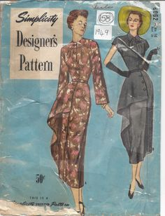"""1949 Vintage Sewing Pattern DRESS B34"""" (158) in Crafts, Sewing & Fabric, Sewing 