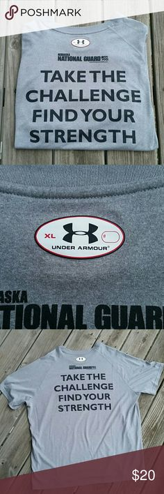 Under Armour National Guard grey loose tee Under Armour National Guard grey loose fitting short sleeve tee in size XLARGE. In excellent condition.   Bundle for a discount or make an offer!   015 Under Armour Shirts Tees - Short Sleeve