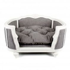 Arthur stonewashed grey upholstered luxury pet sofa Louis XV style with striking curved solid oak frame/upholstered. Rococo Furniture, Pet Furniture, Homemade Sofa, Puppy Room, Pallet Ideas Easy, Pet Beds, Dog Houses, Happy Dogs, Dog Accessories