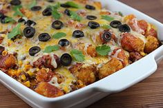Taco Tater Tot Bake~  Made this and loved it!  used a little less enchilada sauce and replaced it with Taco sauce! yum!