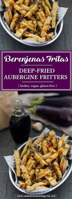 Berenjenas Fritas, deep-fried aubergines, are a quick, easy, vegan and gluten-free treat that will instantly bring Andalusian tapas bars to your own kitchen!  * * *   tapas recipe food blog food photography
