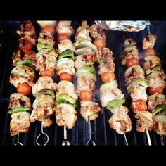 chicken kabobs - savory marinade *** This was so good. We used the extra marinade on any leftover vegetables and just popped those in the oven at 350 while the kabobs cooked on the grill. A-mazing.