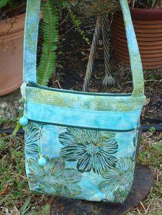 Blue and Green Floral Batik Shoulder Bag by Jackiesewingstudio
