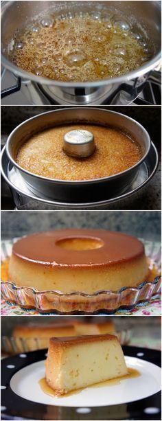 RECEITA DE PUDIM 4 LEITES,SUPER FÁCIL DE FAZER!! VEJA AQUI>>>Para a calda, numa panela, dissolva o açúcar na água. Leve ao fogo baixo por mais ou menos 20 minutos, sem mexer, ou até obter um caramelo dourado. Espalhe em uma forma de burado no meio de mais ou menos 22 cm e reserve. #receita#bolo#torta#doce#sobremesa#aniversario#pudim#mousse#pave#Cheesecake#chocolate#confeitaria