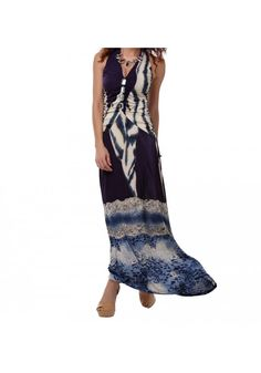 Printed Halter Maxi Dress |-Clothes