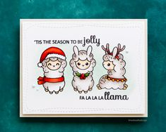 Cute llama Christmas handmade card using the Clearly Besotted Little Llamas stamp set. Christmas Cards Drawing, Christmas Doodles, Xmas Cards, Holiday Cards, Alpaca Drawing, Handmade Christmas, Christmas Crafts, Llama Christmas, Adornos Halloween