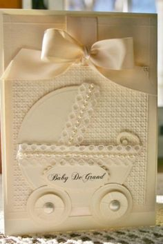 Paper: cream from hobby lobby   Accessories: nestabilities, su embossing folder, lace, brads, ribbon