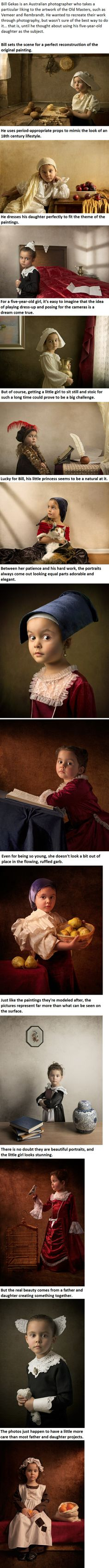 A Father And His Daughter Had A Crazy Idea, Here Is What They Came Up With.. Bill Gekas, an Australiam photographer takes photos of his daughter in settings of classic paintings.