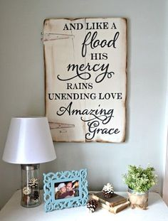 and like a flood his mercy reigns wood sign customizable aimee