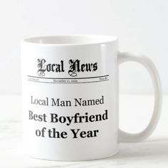 Best Boyfriend Of The Year Newspaper Front Mug | Awesome Gifts for Boyfriend Best Boyfriend, Gifts For Your Boyfriend, Christmas Gift For You, Unique Christmas Gifts, Cool Gifts, Best Gifts, Awesome Gifts, Romantic Gifts For Him, Watch Engraving