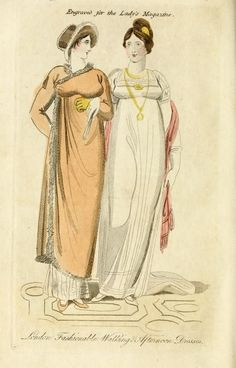 Fashion plate for October 1807 from The Lady's Magazine, or entertaining companion for the fair sex; appropriated solely to their use and amusement