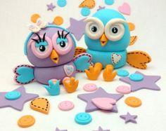Hoot and Hootabelle Owl Birthday ABC 4 Kids Fondant Cake Topper Decoration Set