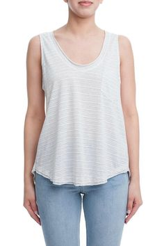 Charcoal and white striped tank with a breast pocket and high-low hem.  Raw Edge Tank by Lush. Clothing - Tops - Tees & Tanks Montauk The Hamptons New York