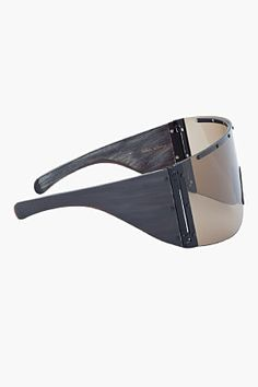 RICK OWENS Oversize Black Polished Buffalo Horn Shield Sunglasses