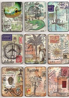 Atc-oh the places I've been. idea for past travels. Atc Cards, Card Tags, Journal Cards, Carta Collage, Scrapbooking Technique, 3d Cuts, Paper Art, Paper Crafts, Art Trading Cards