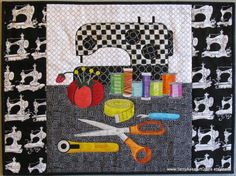 Art Quilt Wall Hanging  Sewing Machine and by TerryAskeArtQuilts, $150.00