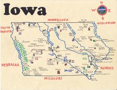 ink and oil paint map of the state of Iowa done on commission