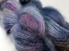 Cool Iris, Blue, Steel, Purple, ColorPurl Adore Lace, Hand Dyed Yarn, Superfine Kid Mohair, Mulberry Silk, Lace Wght 458 yards,50 grams