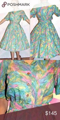 """1950s Pastel rainbow party dress Full swing pink Valentine READY TO WEAR condition! No Flaws! Vintage 50s pastel rainbow party dress goth pinup.   Shoulders:16 """" Sleeves: 9"""" Bust. 40"""" Waist: 28"""" largest with belt 26"""" smallest with belt Hips:Approx.free"""" Length:43"""" Material: Light Crepe Color: Pastel Rainbow  Condition: Excellent Label:                                                Free people  Anthropologie  Punk Betsey Johnson pastelgoth fairy Kei chapman Emma domb Elizabeth Arden pierre…"""