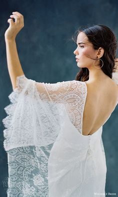 2018 Wedding Dress Trends To Love – Part 1: wilderly bride 2018 bridal trends v neck flutter sleeves sheath lace wedding dress (opal) bv open back chapel train boho romantic  #weddingdress; #bridalgown