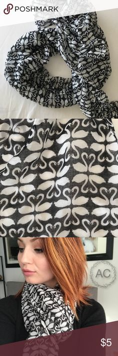 Black and White Swan Scarf Adorable swan scarf! Slightly sheer cotton fabric. Not infinity. Good condition. Lightly used. Accessories Scarves & Wraps