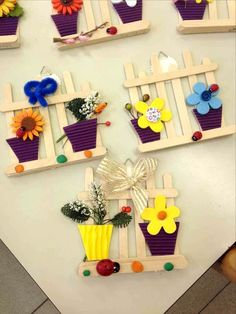 40 More Brilliant DIY Spring Crafts Ideas for Kids - Spring Crafts For Kids Popsicle Stick Crafts, Craft Stick Crafts, Paper Crafts, Wooden Craft Sticks, Wooden Crafts, Spring Crafts For Kids, Art For Kids, Lolly Stick Craft, Matchstick Craft