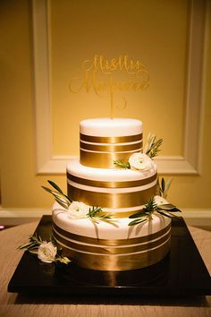 Cake Wrapped in Gold Ribbon | Brides.com