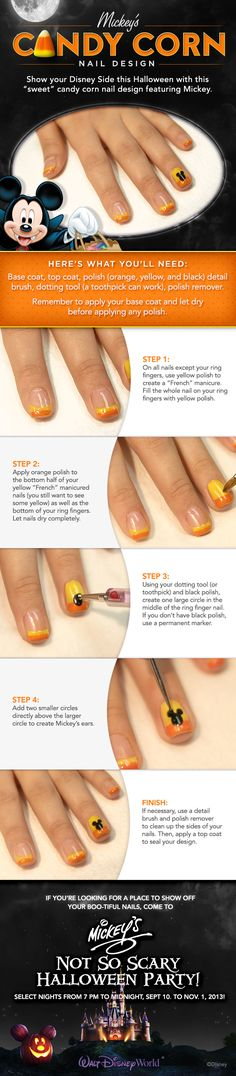 Show your #DisneySide this Halloween with this sweet candy corn nail design featuring Mickey Mouse!