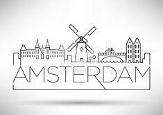 Amsterdam City Line Silhouette Typographic Design royalty-free stock vector art
