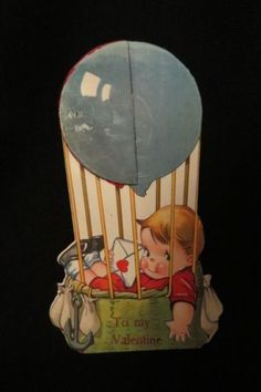 Vintage-HOT-AIR-BALLOON-Valentine-Card-c-1940s-Twelvetrees