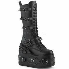 "Demonia 5/"" Wedge Platform Vegan Ventilator Strap Cyber Sneaker Boots Shoes 6-11"