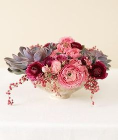 Centerpiece of pink Ranunculuses.