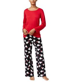 New with tagsCharter Club Scoop-Neck Top & Printed Pajama Pants Set Red Polar Bear Sizes Small, 3XL Snuggle up to the festive holiday spirit of Charter Clu