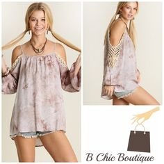 Arriving this week! Tie die Cold shoulder tunic in a beautiful stone color. Available in S, M, and Large. Reserve yours today! Bchic Tops Tunics