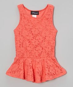 This Coral Lace Peplum Top - Toddler & Girls is perfect! #zulilyfinds