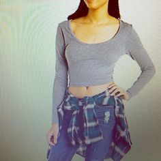 Charlotte Russe Crop Top Loving crop top with shoulder chain embellishment. The golden chains are a great feature to the dark grey crop top giving it that little extra.  The fit is very comfortable and the fabric nice & soft. Never worn it!  Charlotte Russe Tops Crop Tops