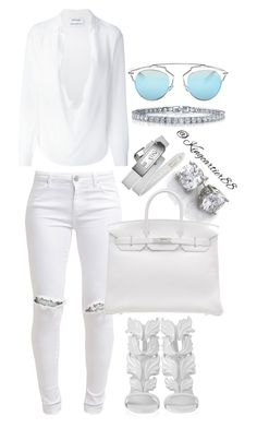 A fashion look from August 2015 by featuring Anthony Vaccarello, FiveUnits, Giuseppe Zanotti, Hermès, BERRICLE and Christian Dior All White Party Outfits, All White Outfit, Classy Outfits, Chic Outfits, Fashion Outfits, Womens Fashion, Dress Outfits, White Dress, White Fashion