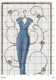point de croix  longue robe de soirée bleue - cross stitch long blue evening dress part 1