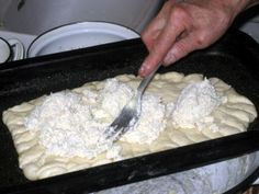 Tvaroznik is a cake consisting of flat leavened dough topped with a sweet farmer's cheese mixture. It is very popular in Slovakia. This recipe contains step-by-step illustrated instructions for preparing it, shown by my grandmother. Slovak Recipes, Czech Recipes, Mexican Food Recipes, Dessert Recipes, Ethnic Recipes, Eastern European Recipes, European Cuisine, Polish Recipes, Polish Food