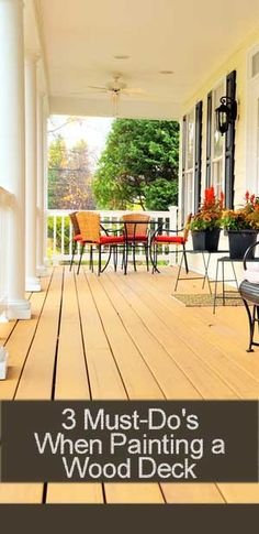 3 Must Do's When Painting a Wood Deck Behr Deckover Behr, Outdoor Spaces, Outdoor Living, Outdoor Decor, Just Dream, Decks And Porches, Do It Yourself Home, Diy Home Improvement, Outdoor Projects