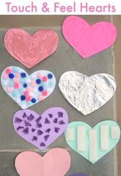 An easy DIY Sensory Activity - Touch and Feel Hearts for Valentine's Day or any day! Practice shapes and textures or make them for fun sensory Valentines!