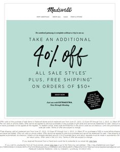 Brand: Madewell | Sales Promotion: Premium, Coupon | Target: Online shoppers | This sales promotion is non-franchise because its goal is simply to increase short-term sales rather than long-term brand equity.