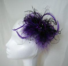 Cadbury Purple and Black Veil Fluff Feather Gothic Burlesque Hair Clip Fascinator by IndigoDaisyWeddings on Etsy