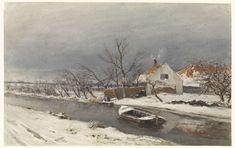 Winterlandschap met huizen aan een vaart, Louis Apol, 1874