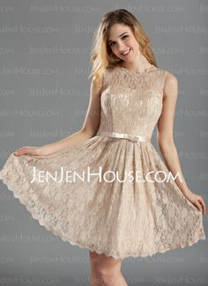 Bridesmaid Dresses - $122.79 - A-Line/Princess Scoop Neck Knee-Length Charmeuse Lace Bridesmaid Dress With Sash (007019660) http://jenjenhouse.com/A-Line-Princess-Scoop-Neck-Knee-Length-Charmeuse-Lace-Bridesmaid-Dress-With-Sash-007019660-g19660